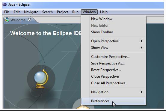 Window -> Preferences