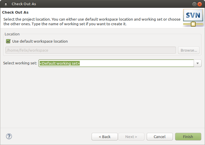 Use default workspace location